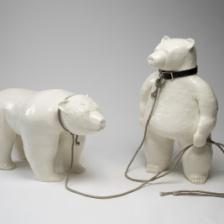 """David Packer, """"Dancing Bears,"""" 2009, Glazed ceramic, 44 x 34 x 28 in."""