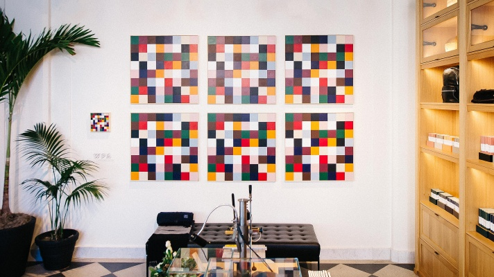 """Jeremy Flick, """"Uptight Everything is Alright,"""" 2016. Acrylic on canvas, 6 panels, 36 x 36 in. each."""