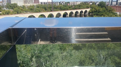 View of Minneapolis from the Guthrie Center's Endless Bridge.