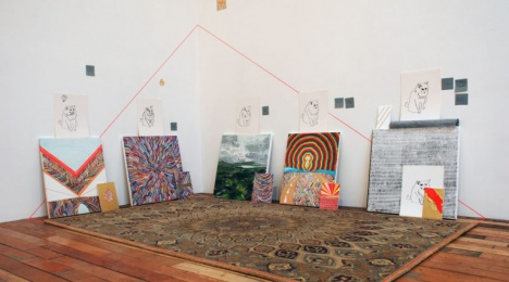 "Kate McGraw, ""Chouffe Mountain"" (2013), mixed media paintings and drawings on canvas, panel and paper, wall-drawing, and rug showroom, New York (all images courtesy the artist)"
