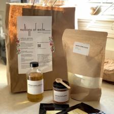 Pantry box with corn flour, aji dulce powder, and smoked sunflower oil