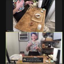 Screenshot of host Mercedes Golip demonstrating how to make arepas